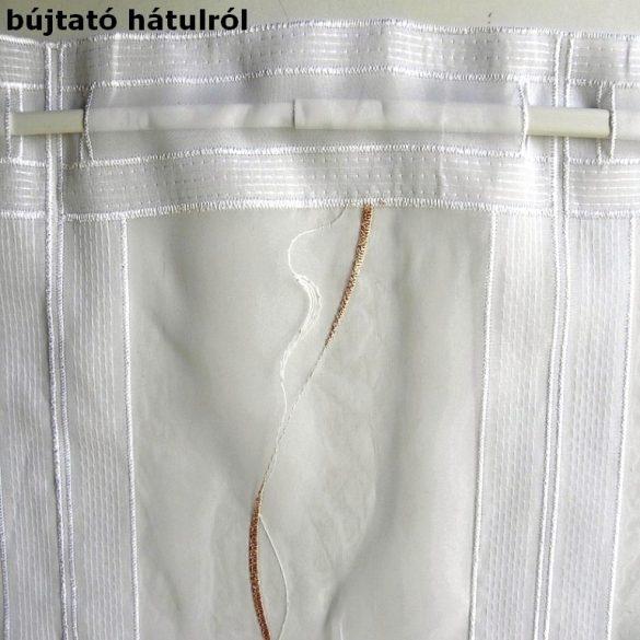 Hímzett, fehér voile vitrázs függöny, bézs mintával