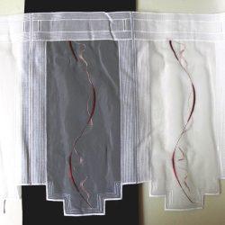Hímzett, fehér voile vitrázs függöny, bordó mintával