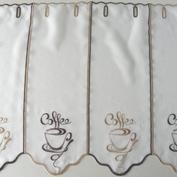 COFFEE, hímzett, vitrázs függöny, kávéscsésze mintás - 45 cm magas - maradék darabok