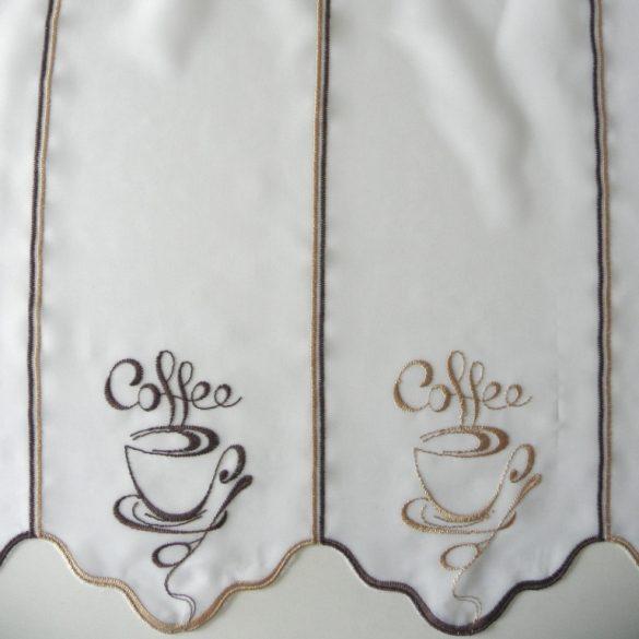 COFFEE, hímzett, fehér voile vitrázs függöny, barna-bronz kávéscsésze mintával - 45 cm magas