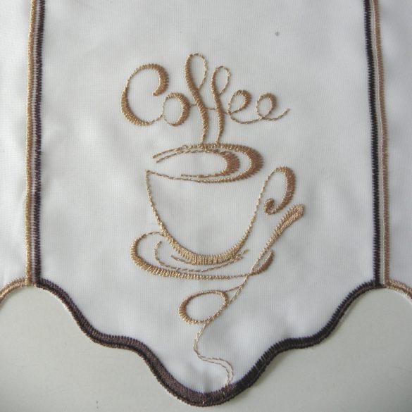 COFFEE, hímzett, fehér voile vitrázs függöny, barna-bronz kávéscsésze mintával