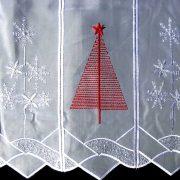 KARÁCSONYFA, karácsonyi mintás, hímzett vitrázs függöny