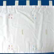 LYNN, beszőtt, modern mintás, fehér voile vitrázs, füles függöny - zöld
