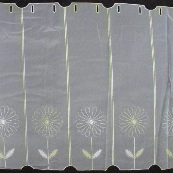 KIKELET, virág mintás hímzett vitrázsfüggöny anyag, 60 cm magas
