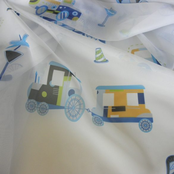 TRAFFIC, gyerekmintás, járműves voile, fényáteresztő függöny anyag