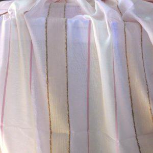 Rózsaszín-ekrü, beszőtt csíkos voile fényáteresztő függöny anyag, 260 cm magas