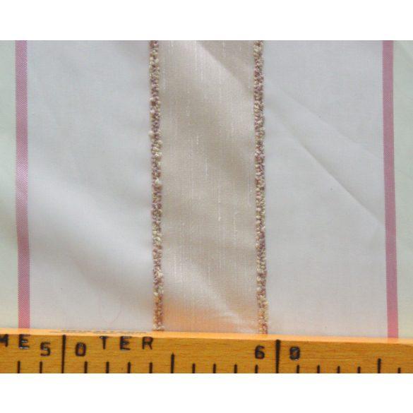 Rózsaszín-ekrü, beszőtt csíkos voile fényáteresztő függöny anyag