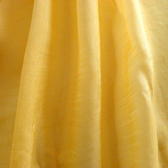 Gyűrt voile fényáteresztő függöny anyag, aranysárga, 270 cm magas - maradék darabok