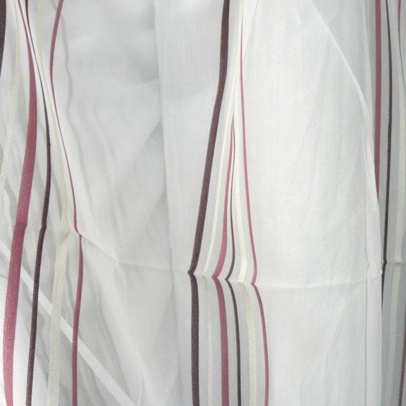 Bordó-bézs csíkos fehér voile fényáteresztő függöny anyag