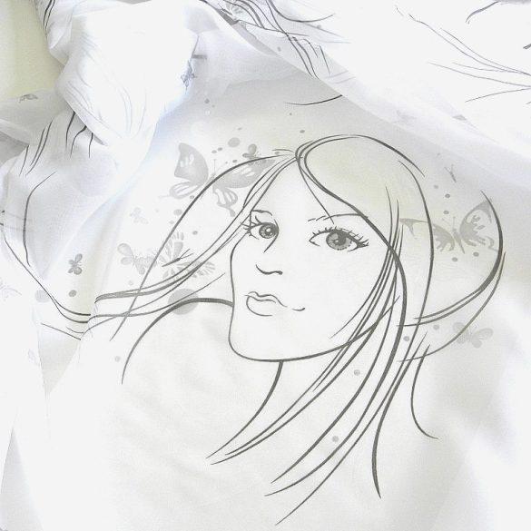 GIRL, lányfej mintás fényáteresztő voile függöny anyag - 290 cm magas