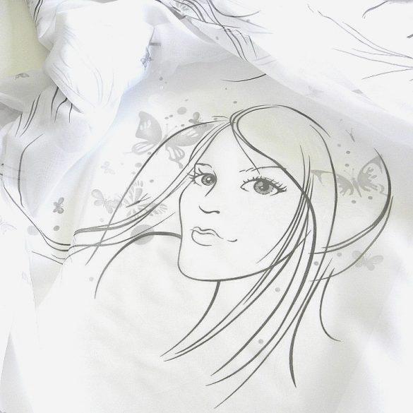 GIRL, lányfej mintás fényáteresztő voile függöny anyag