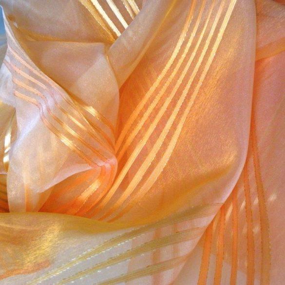 BEA, beszőtt csíkos organza függönyanyag, narancs - 300 cm