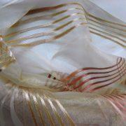 BEA bézs, csíkos organza függönyanyag, 300 cm magas