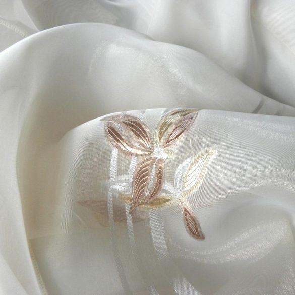 Nyírt organza függönyanyag, virágos drapp