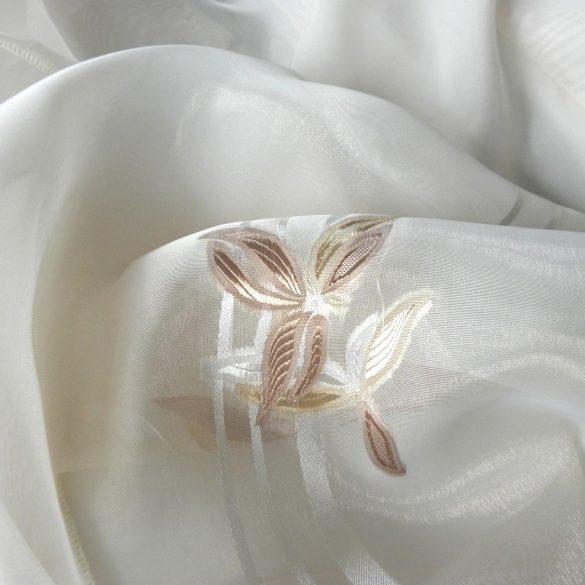 Fehér, nyírt organza függönyanyag, drapp virágmintával