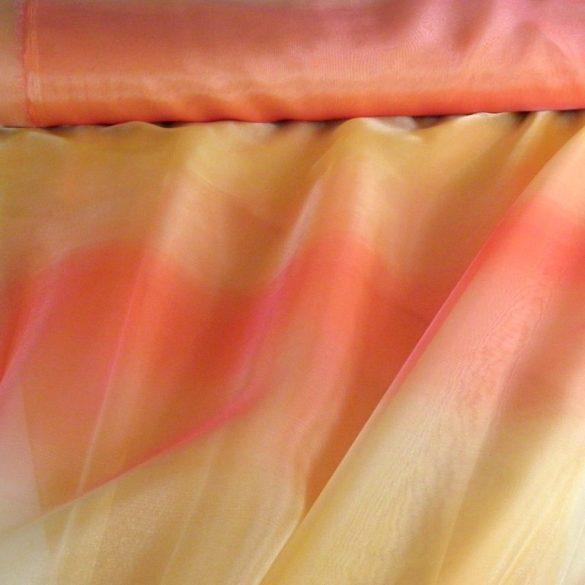 Organza függöny anyag, gyűrt, beszőtt, vaníliasárga