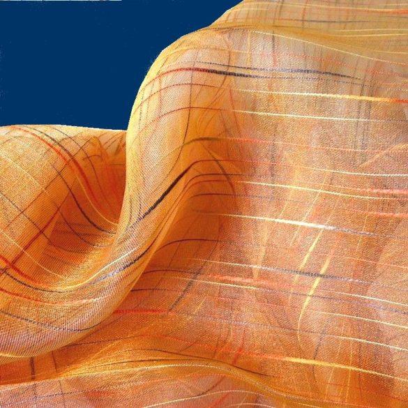 Beszőtt csíkos organza függönyanyag, narancs - 300 cm