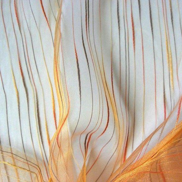 Beszőtt csíkos organza függönyanyag, narancs