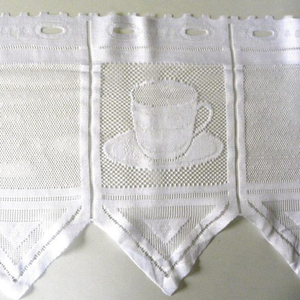 CAFISSIMO, vitrázs függöny kávéscsésze mintával, fehér