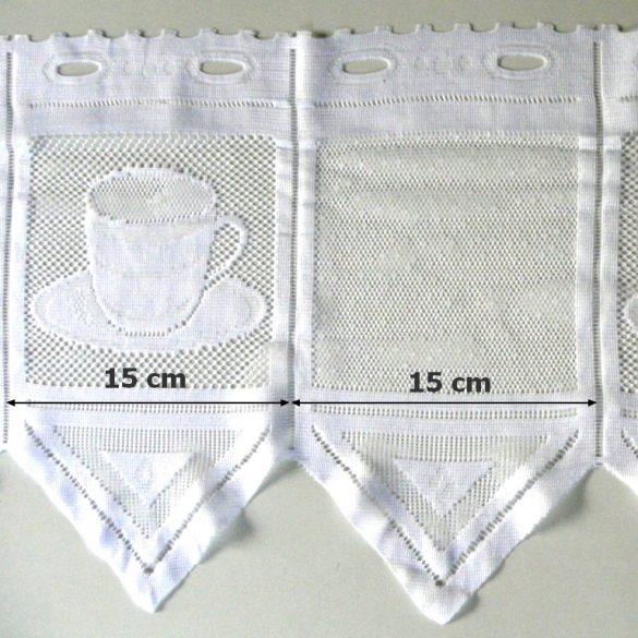 CAFISSIMO, vitrázs függöny kávéscsésze mintával, 30 cm magas, fehér