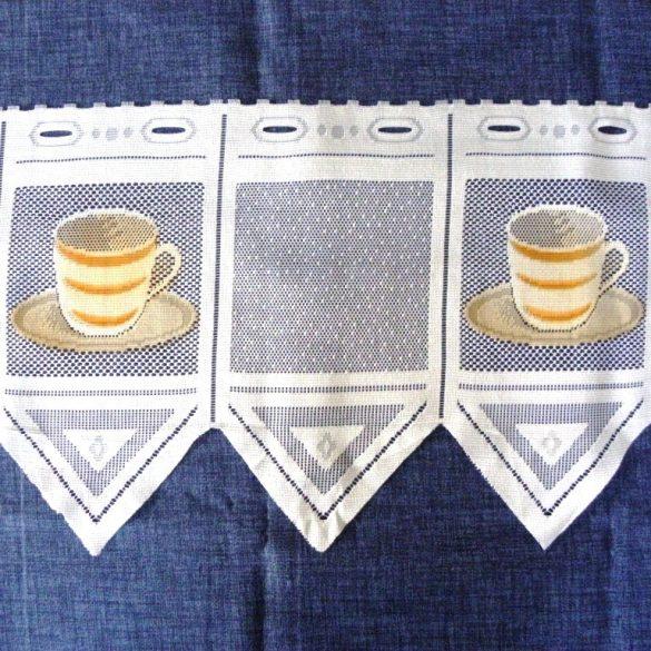 CAFISSIMO, vitrázs függöny kávéscsésze mintával, 30 cm magas, színes