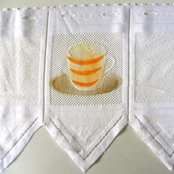 CAFISSIMO, vitrázs függöny kávéscsésze mintával, színes