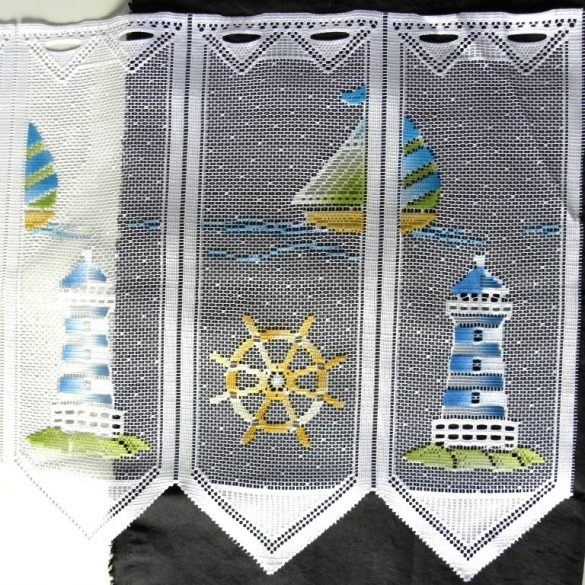 SEASIDE, színes német jacquard csipke vitrázsfüggöny anyag
