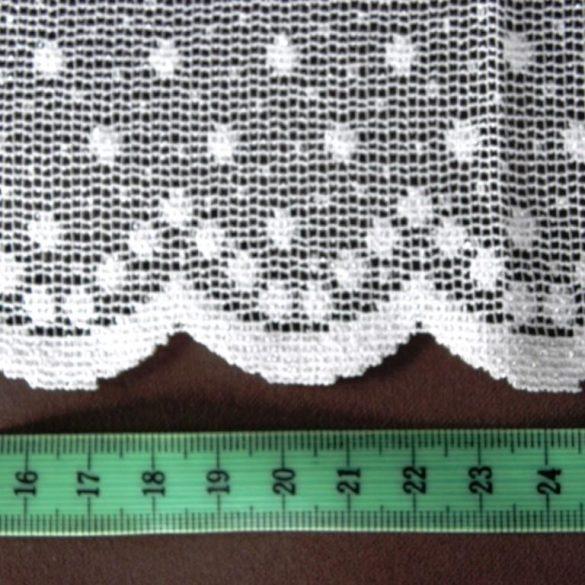 PÖTYI fehér pöttyös mintás jacquard függöny anyag, 180 cm magas