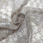 NEWERA taupe, jacquard csipke függöny anyag, egyszerű, rácsmintával, 200  cm magas