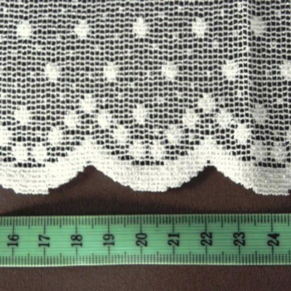 PÖTYI ekrü pöttyös mintás jacquard függöny anyag, 270 cm magas - maradék darab