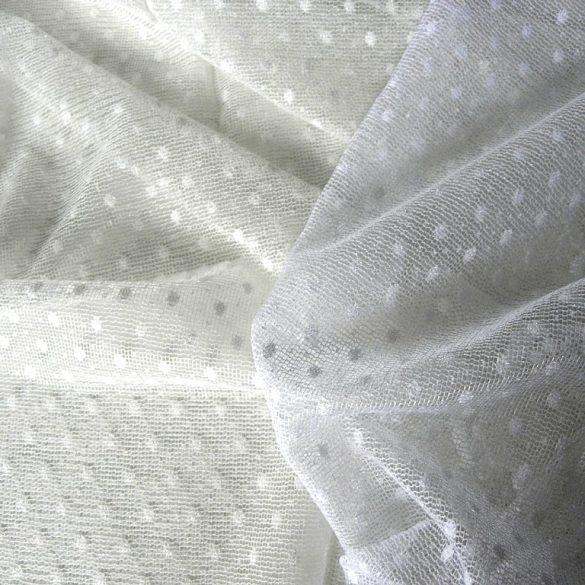 PÖTYI fehér pöttyös mintás jacquard függöny anyag, 270 cm magas