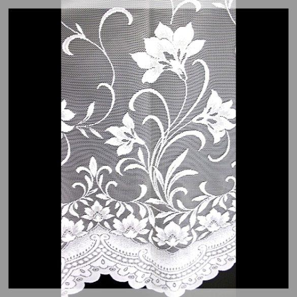 ÍRISZ, virágmintás fehér jacquard függönyanyag, 285 cm magas