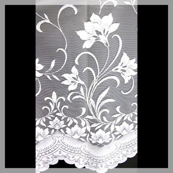 ÍRISZ, virágmintás fehér jacquard függönyanyag