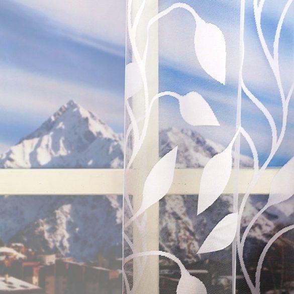 LEAF, fehér jacquard függöny anyag, levél mintával, 290 cm magas