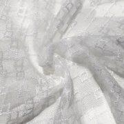 NEWERA fehér, jacquard csipke függöny anyag, egyszerű, rácsmintával, 330  cm magas