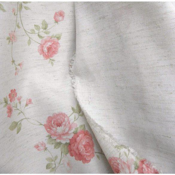 GALDO, rózsamintás, lenhatású dekorfüggöny anyag