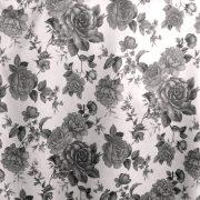 ORLEANS,  szürke-fekete rózsamintás dim out sötétítő függöny anyag