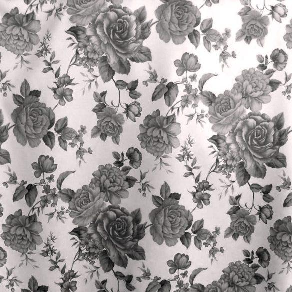 ORLEANS, szürke-fekete rózsamintás dim out sötétítő függönyanyag