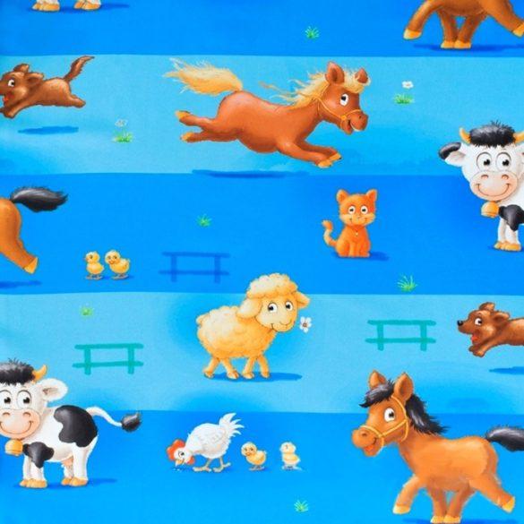 FARM, gyerekmintás, állatos dimout sötétítő függöny, kék