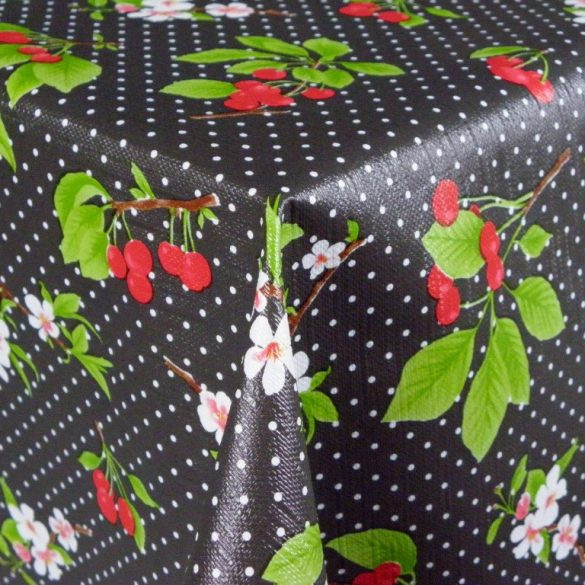 BELLO, cseresznye mintás, pöttyös vlies, PVC, lemosható anyag, fekete