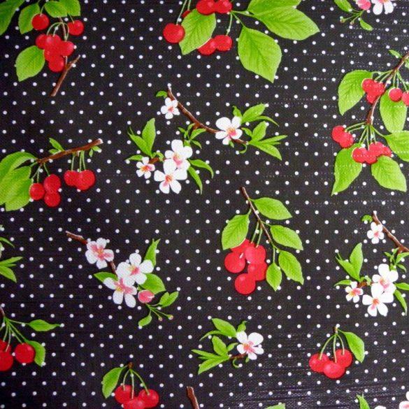 BELLO, cseresznye mintás, pöttyös viaszosvászon, lemosható anyag, fekete