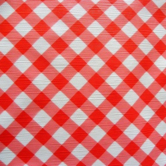 DIA, piros, átlós kockás mintás viaszosvászon