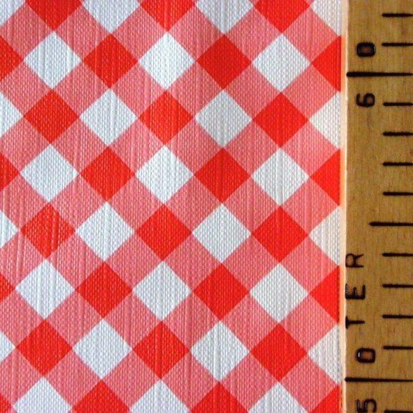 DIA, piros, átlós kockás mintás viaszosvászon, lemosható anyag