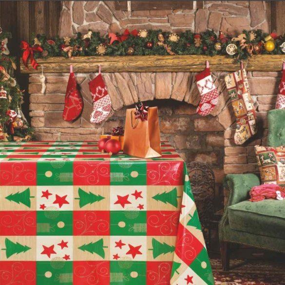 Karácsonyi mintás vlies, PVC, lemosható anyag