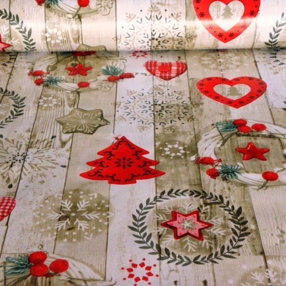 PLANK, karácsonyi mintás vlies, PVC, lemosható anyag