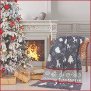 AURA WINTER, 150x200 cm karácsonyi takaró, pléd - szürke