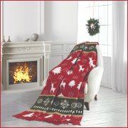 AURA WINTER, 150x200 cm karácsonyi takaró, pléd - piros