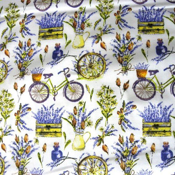Biciklis, levendulás, mintás pamutvászon