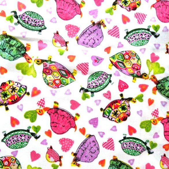 TEKNŐCE színes teknősbékás, szívecskés pamut vászon méteráru
