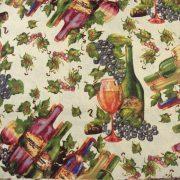SZÜRET, szőlő, bor mintás pamutvászon